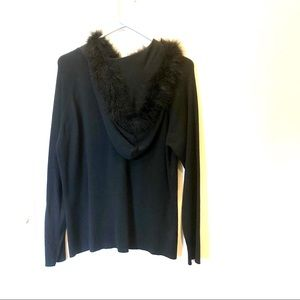 Hooded faux fur collar silk cardigan large black